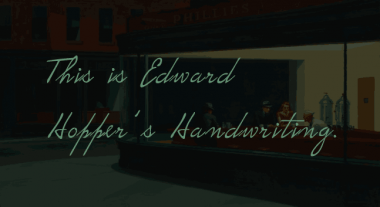 Edward Hopper's handwriting