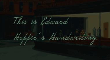 Edward Hopper's handwriting