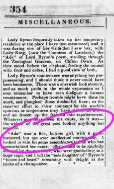 Ada Lovelace old newspaper